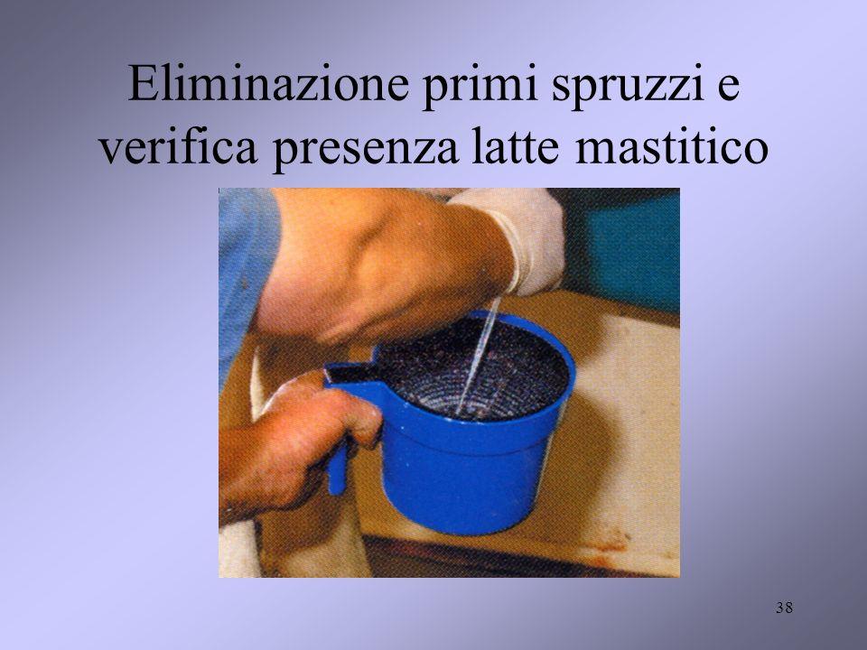 Eliminazione primi spruzzi e verifica presenza latte mastitico