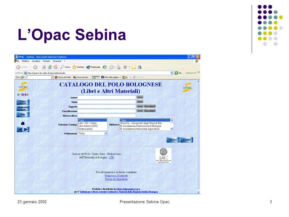 Presentazione Sebina Opac