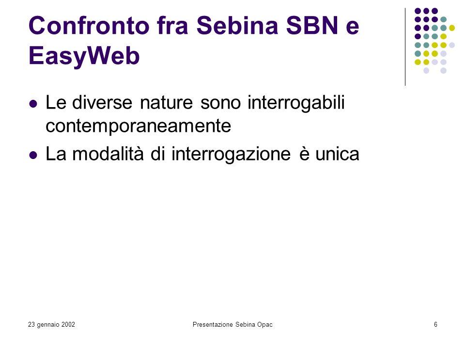 Confronto fra Sebina SBN e EasyWeb
