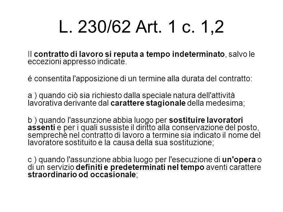 L. 230/62 Art. 1 c. 1,2 Il contratto di lavoro si reputa a tempo indeterminato, salvo le eccezioni appresso indicate.