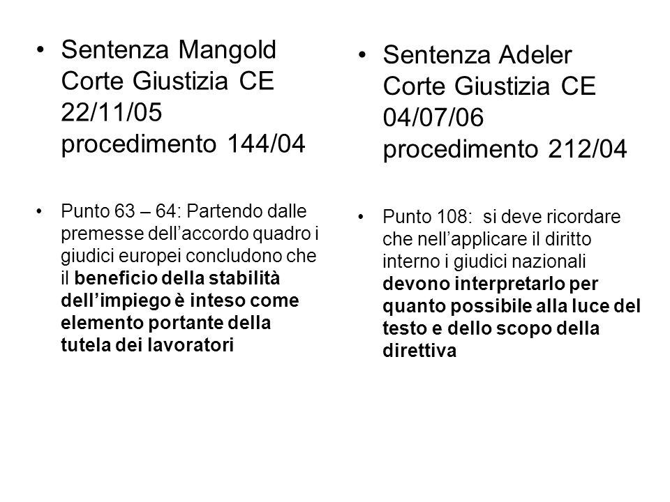 Sentenza Mangold Corte Giustizia CE 22/11/05 procedimento 144/04