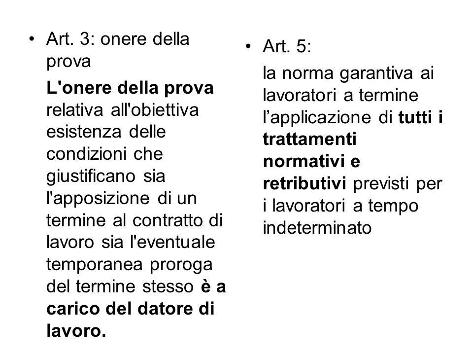 Art. 3: onere della prova