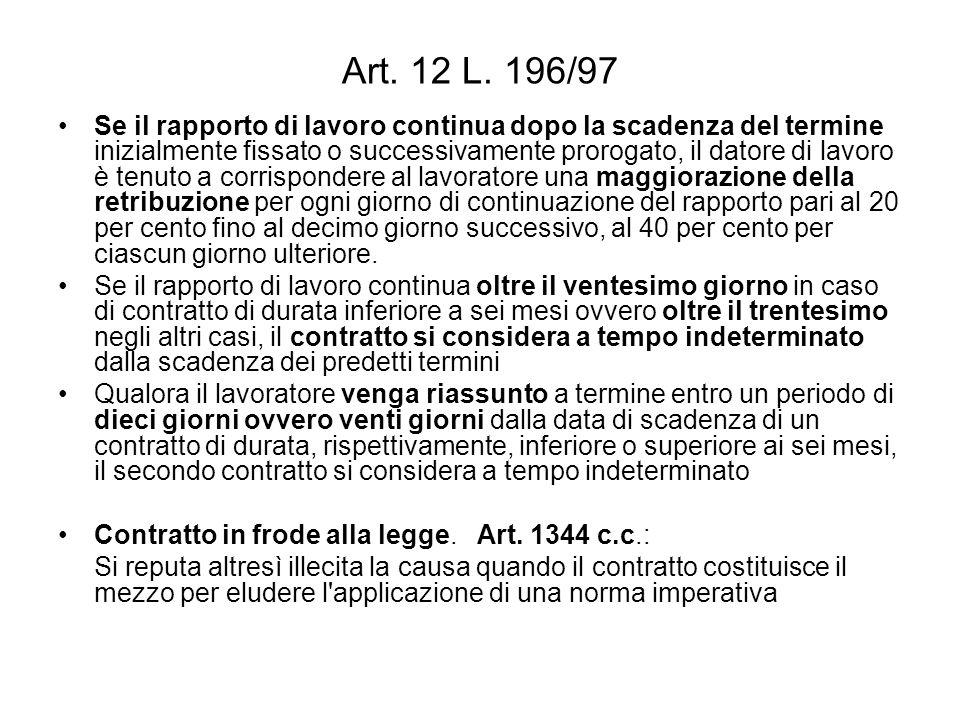 Art. 12 L. 196/97