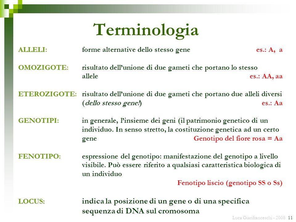 Terminologia ALLELI: forme alternative dello stesso gene es.: A, a