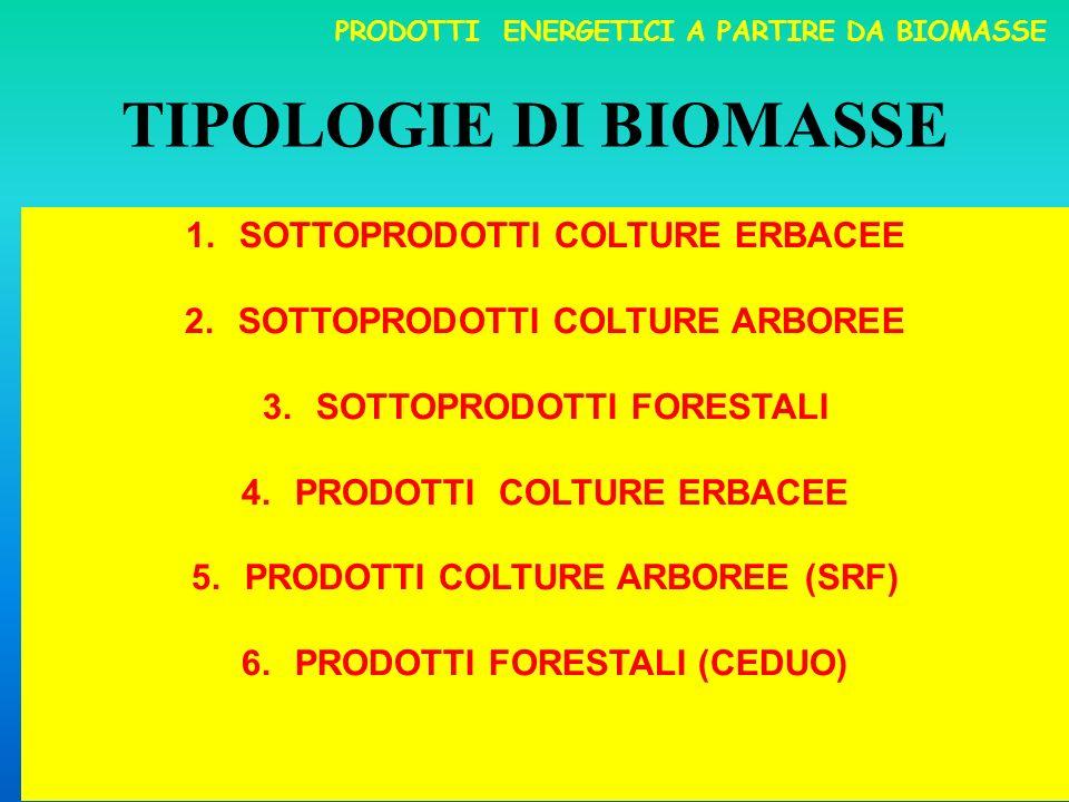 TIPOLOGIE DI BIOMASSE SOTTOPRODOTTI COLTURE ERBACEE