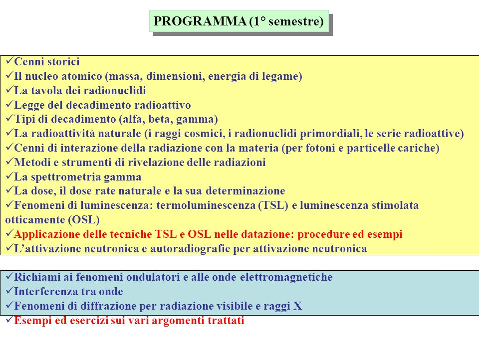 PROGRAMMA (1° semestre)