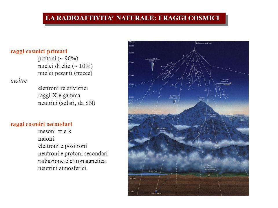 LA RADIOATTIVITA' NATURALE: I RAGGI COSMICI
