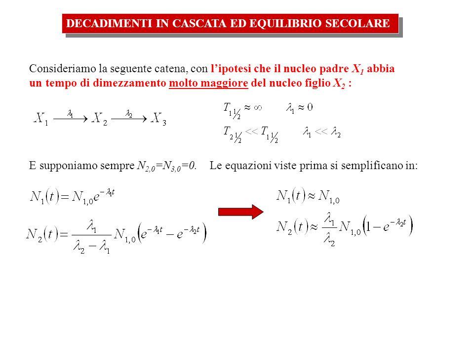 DECADIMENTI IN CASCATA ED EQUILIBRIO SECOLARE