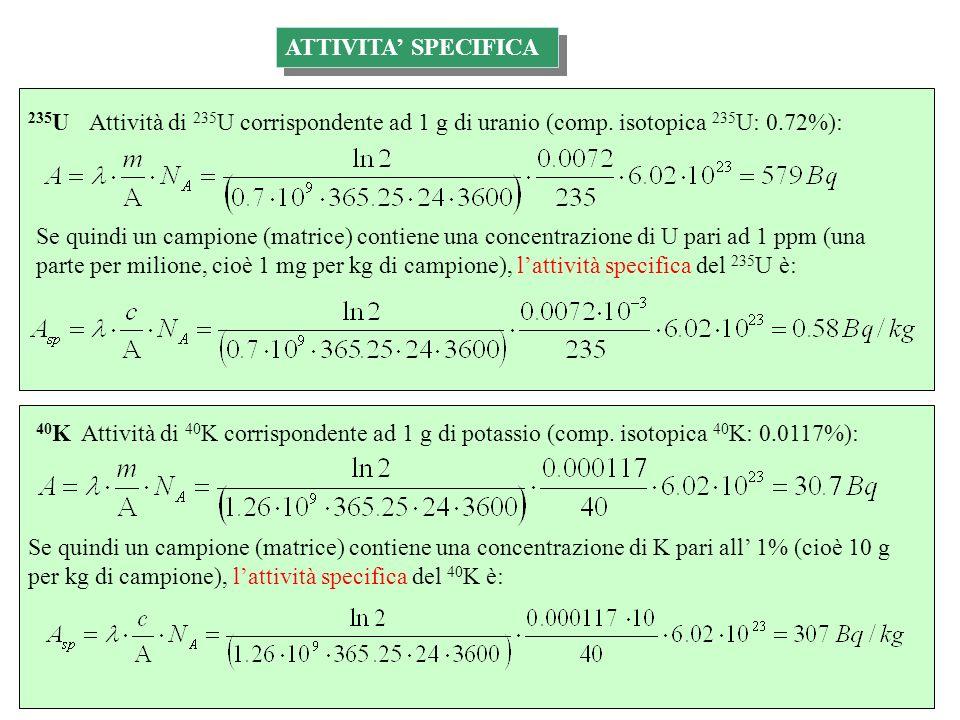 ATTIVITA' SPECIFICA 235U. Attività di 235U corrispondente ad 1 g di uranio (comp. isotopica 235U: 0.72%):