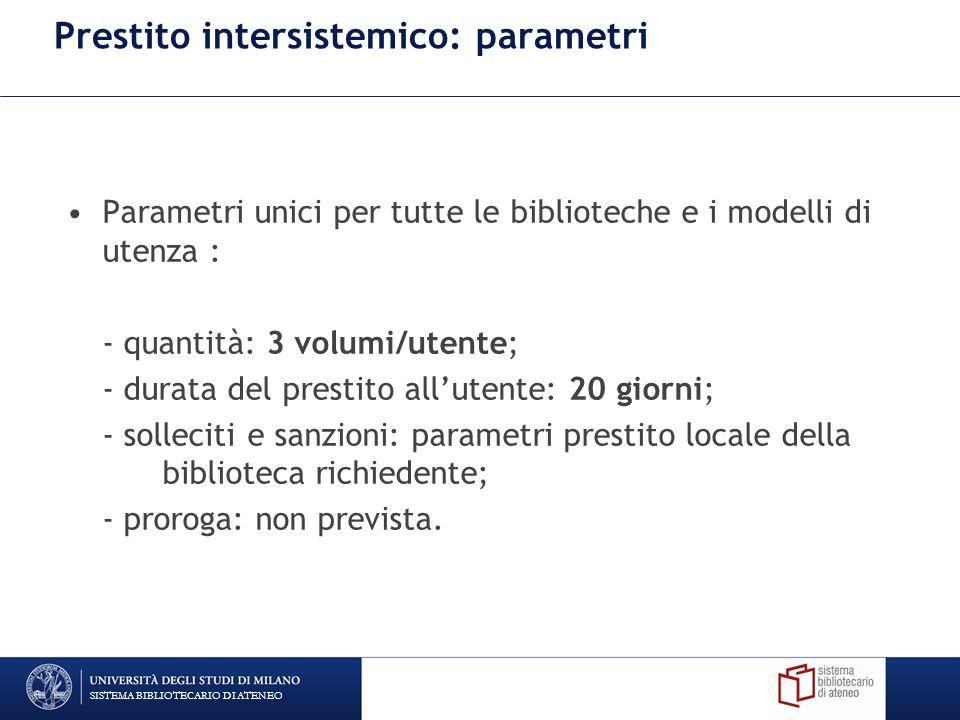 Prestito intersistemico: parametri