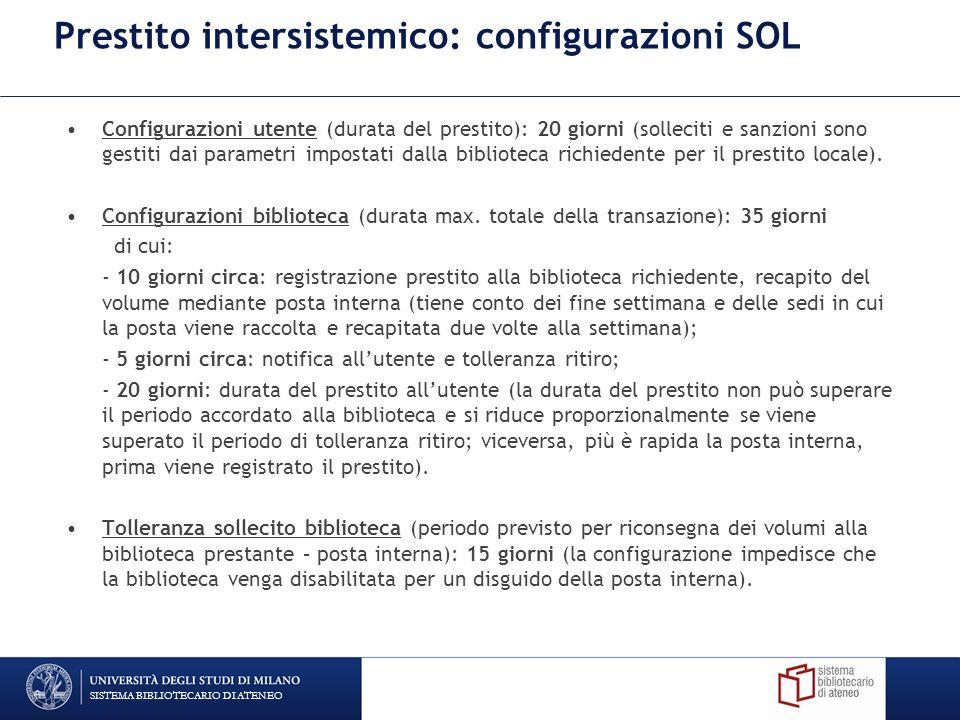 Prestito intersistemico: configurazioni SOL
