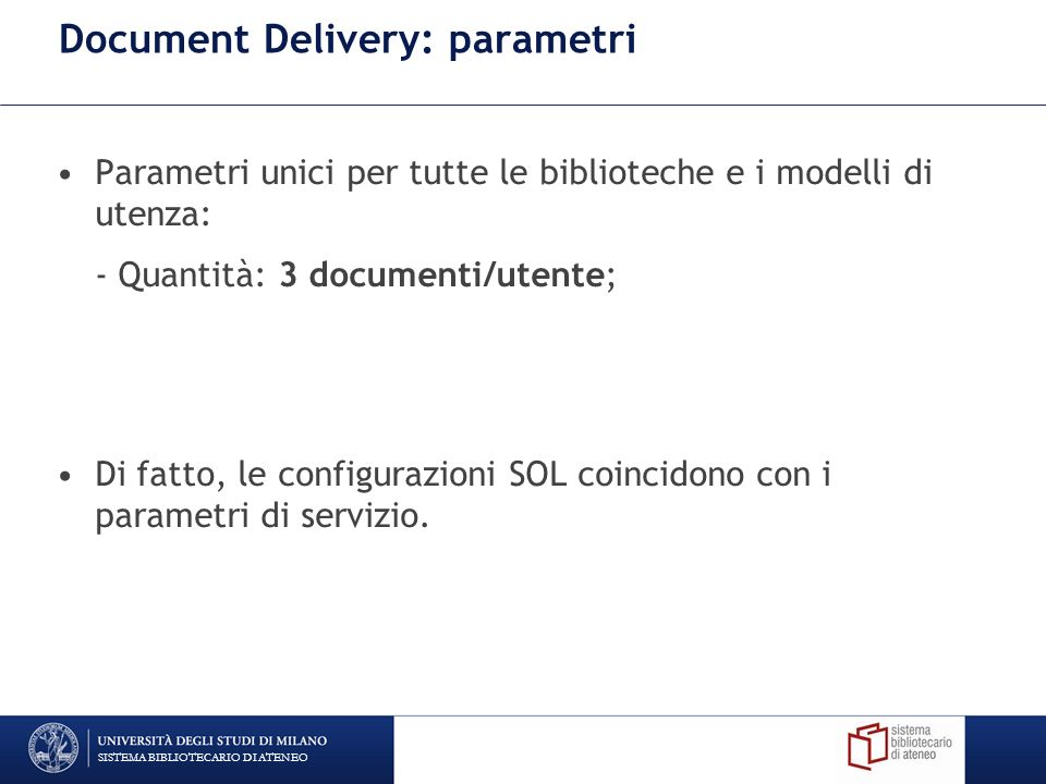 Document Delivery: parametri