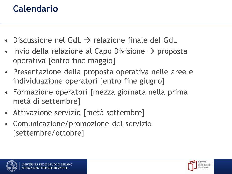 Calendario Discussione nel GdL  relazione finale del GdL