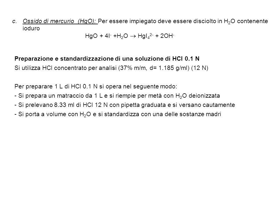 Ossido di mercurio (HgO): Per essere impiegato deve essere disciolto in H2O contenente ioduro