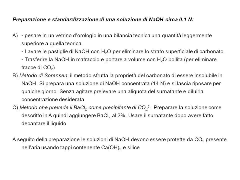 Preparazione e standardizzazione di una soluzione di NaOH circa 0.1 N: