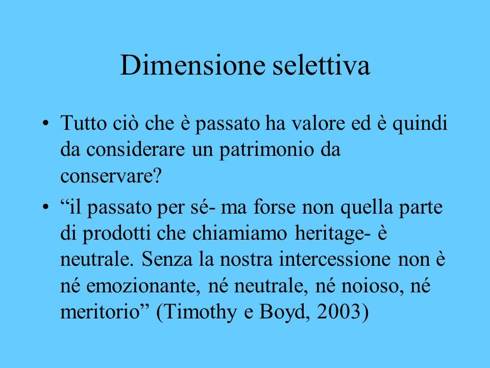Dimensione selettiva Tutto ciò che è passato ha valore ed è quindi da considerare un patrimonio da conservare