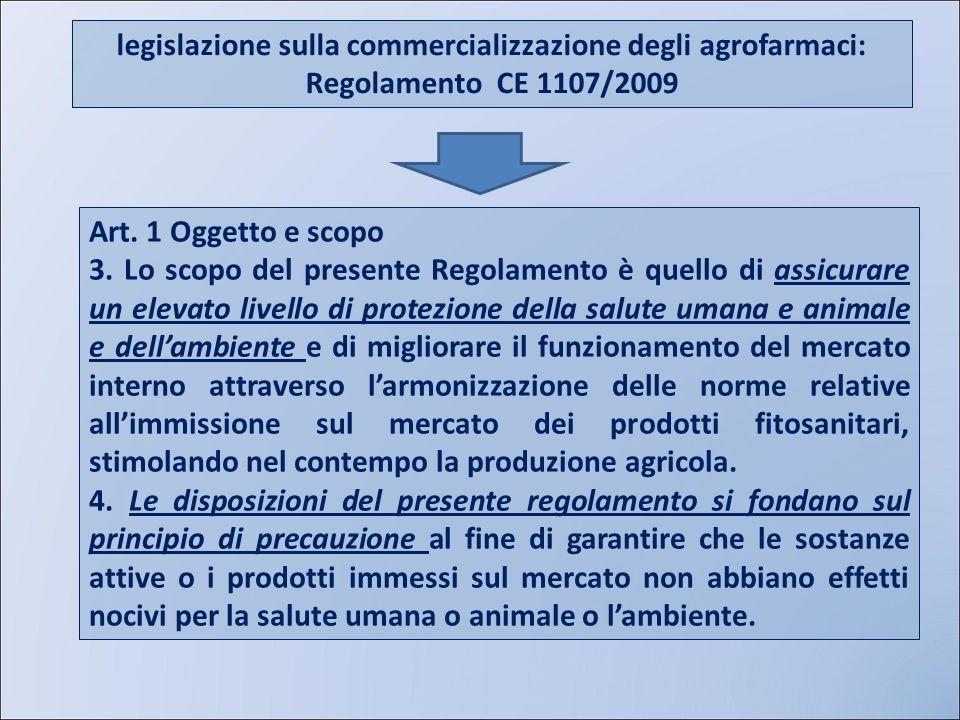 AIPP legislazione sulla commercializzazione degli agrofarmaci: Regolamento CE 1107/2009. Art. 1 Oggetto e scopo.