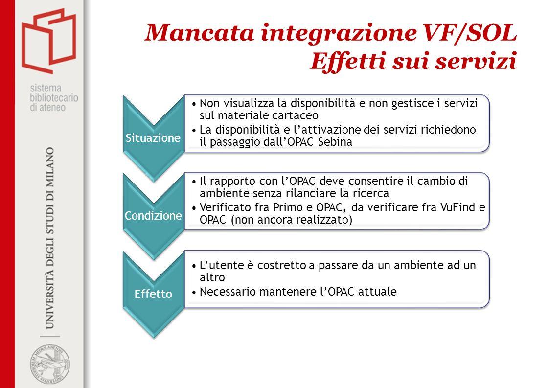 Mancata integrazione VF/SOL Effetti sui servizi