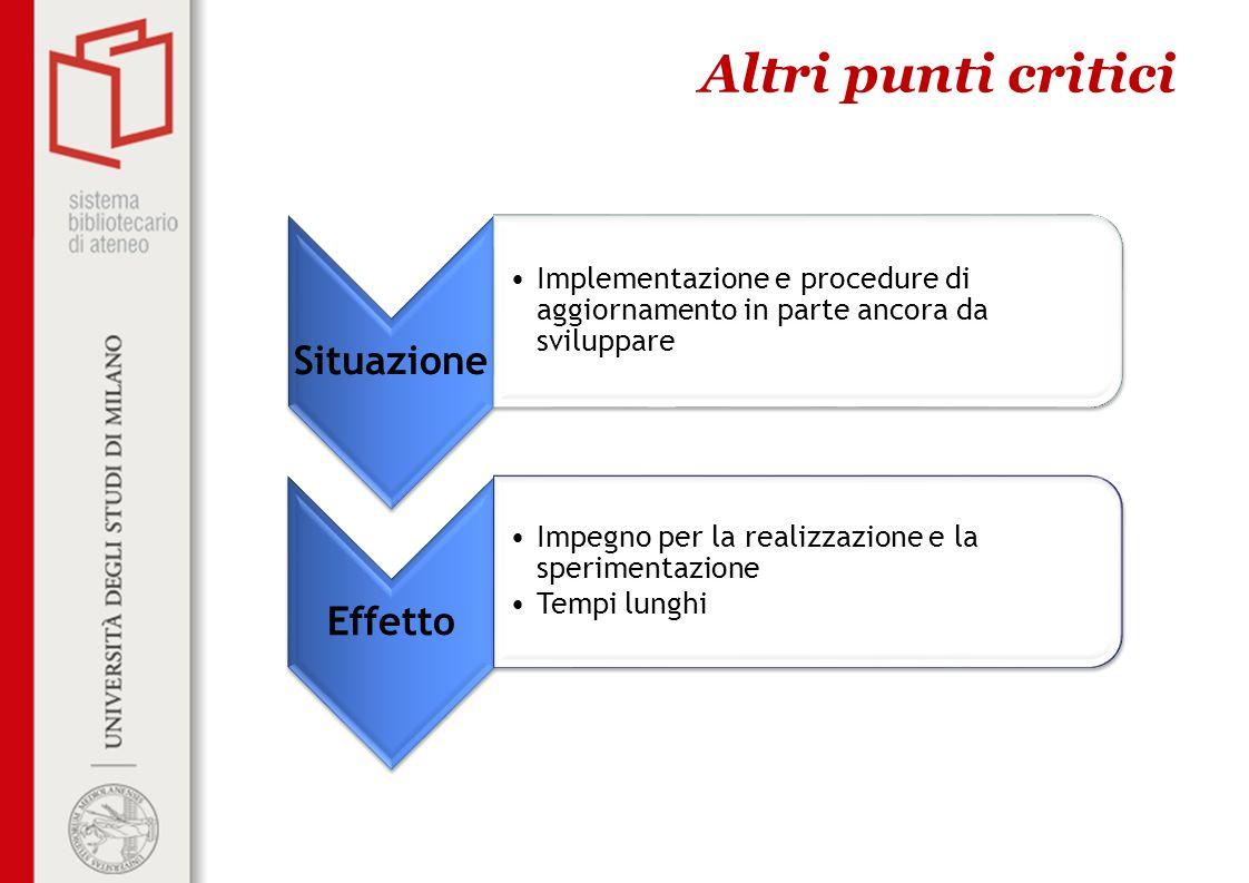 Altri punti critici Situazione. Implementazione e procedure di aggiornamento in parte ancora da sviluppare.