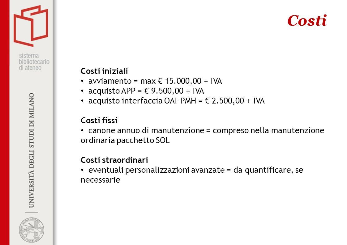 Costi Costi iniziali avviamento = max € 15.000,00 + IVA