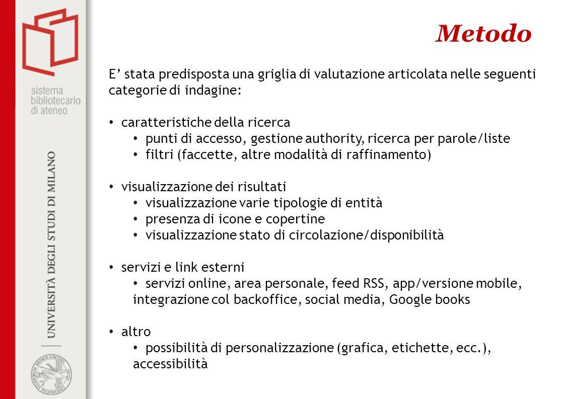 Metodo E' stata predisposta una griglia di valutazione articolata nelle seguenti categorie di indagine:
