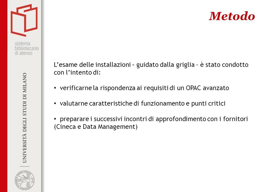 MetodoL'esame delle installazioni – guidato dalla griglia - è stato condotto con l'intento di: