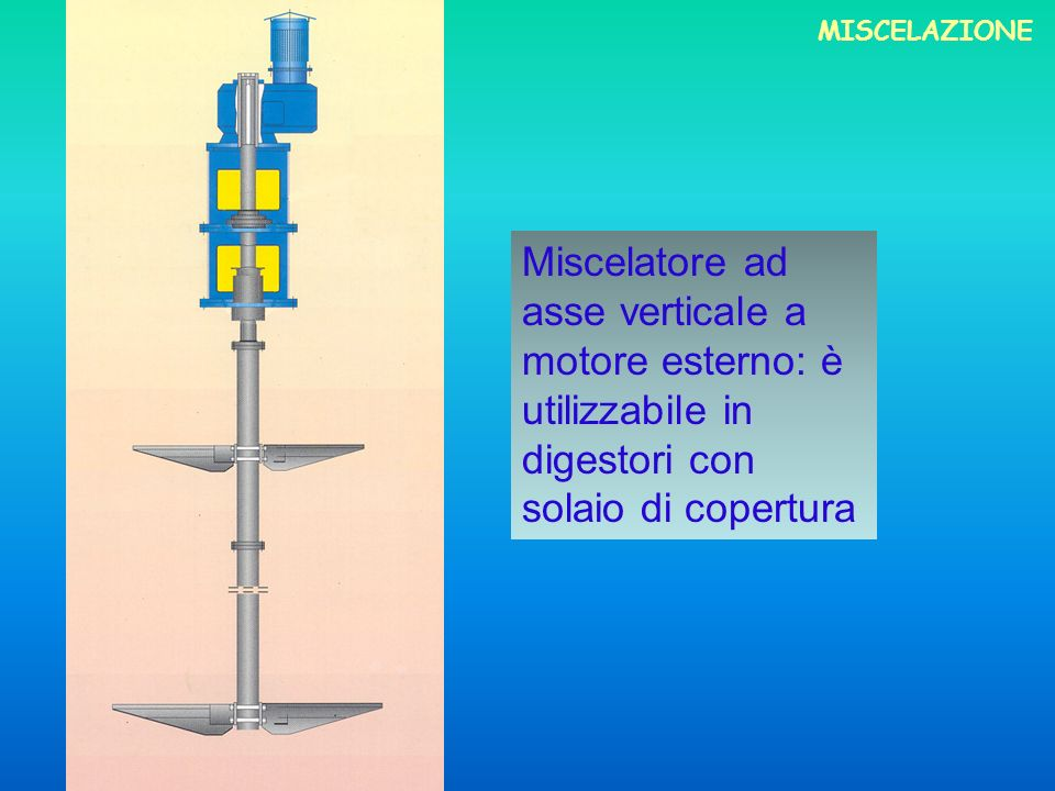 MISCELAZIONEMiscelatore ad asse verticale a motore esterno: è utilizzabile in digestori con solaio di copertura.
