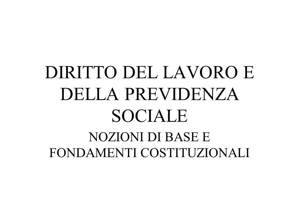 DIRITTO DEL LAVORO E DELLA PREVIDENZA SOCIALE