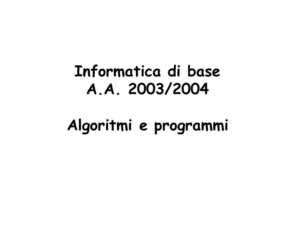 Informatica di base A.A. 2003/2004 Algoritmi e programmi