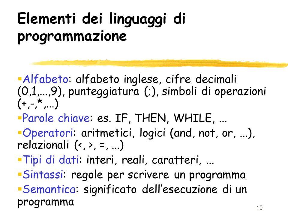 Elementi dei linguaggi di programmazione