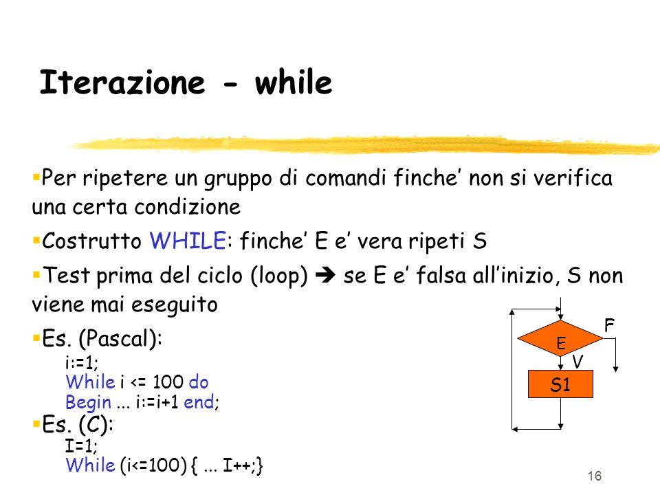 Iterazione - while Per ripetere un gruppo di comandi finche' non si verifica una certa condizione. Costrutto WHILE: finche' E e' vera ripeti S.