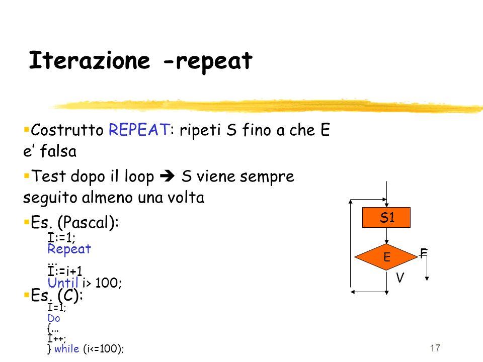 Iterazione -repeat Costrutto REPEAT: ripeti S fino a che E e' falsa