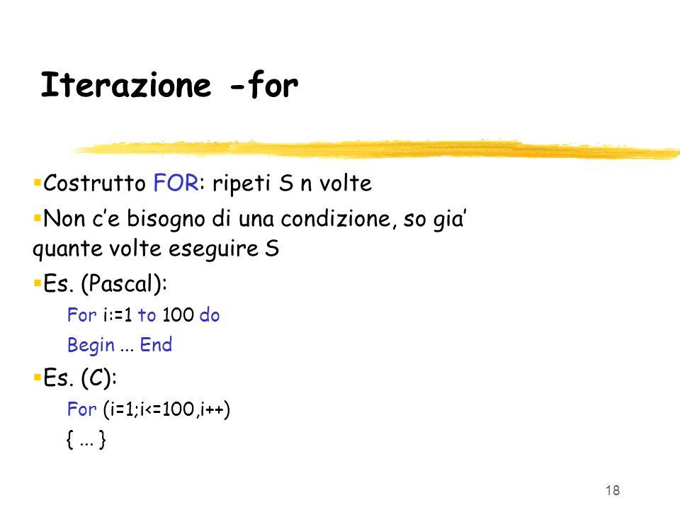 Iterazione -for Costrutto FOR: ripeti S n volte