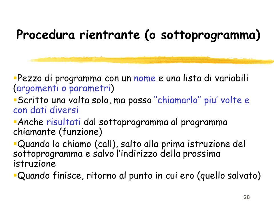 Procedura rientrante (o sottoprogramma)