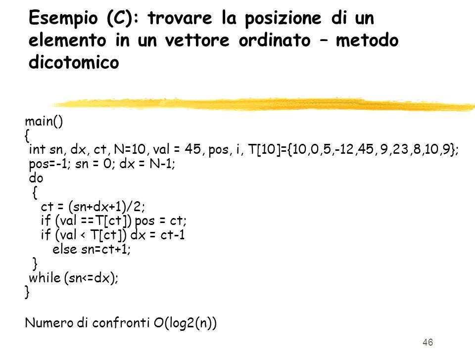 Esempio (C): trovare la posizione di un elemento in un vettore ordinato – metodo dicotomico