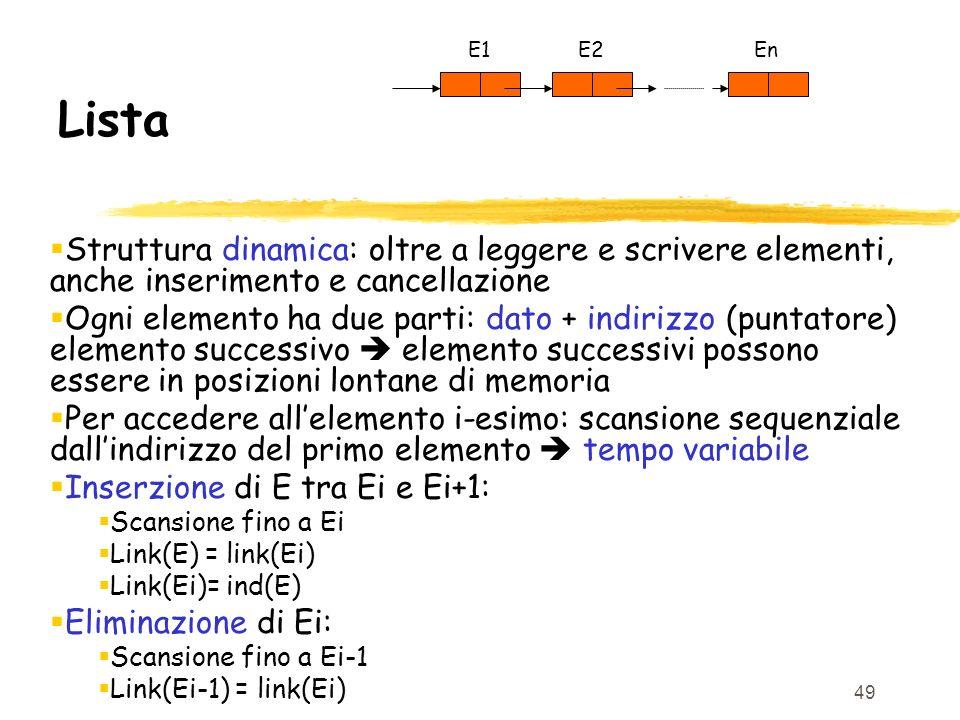 E1 E2. En. Lista. Struttura dinamica: oltre a leggere e scrivere elementi, anche inserimento e cancellazione.