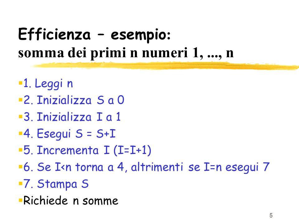 Efficienza – esempio: somma dei primi n numeri 1, ..., n