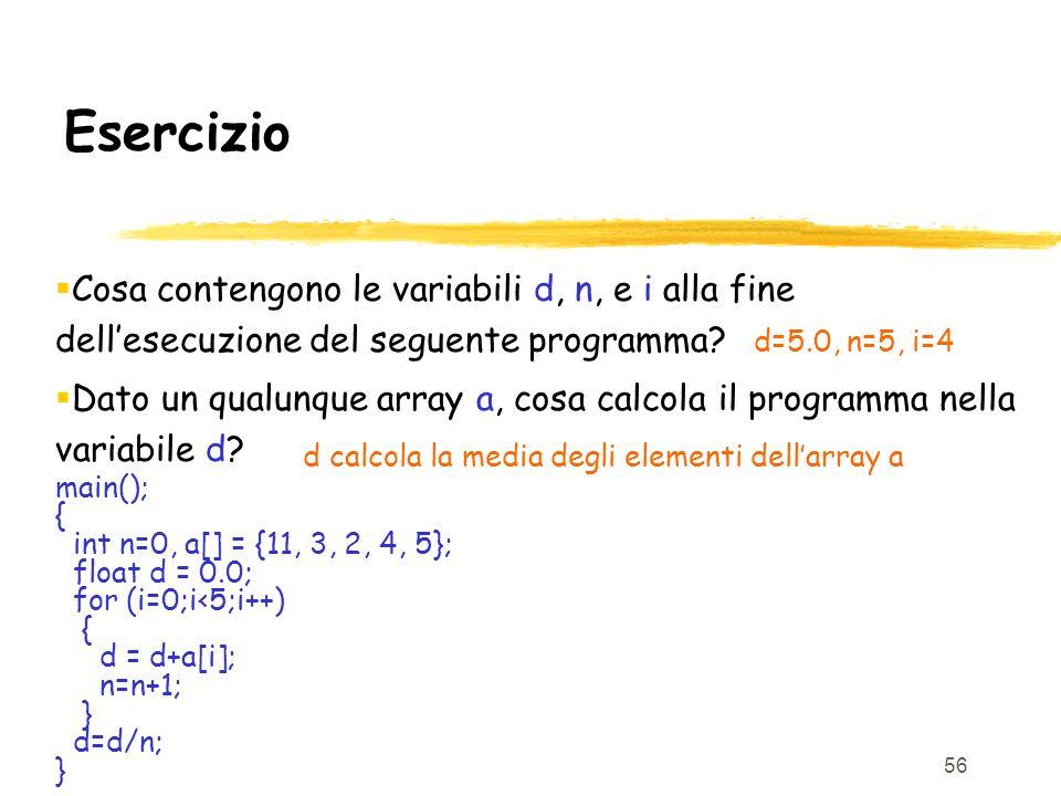 Esercizio Cosa contengono le variabili d, n, e i alla fine dell'esecuzione del seguente programma