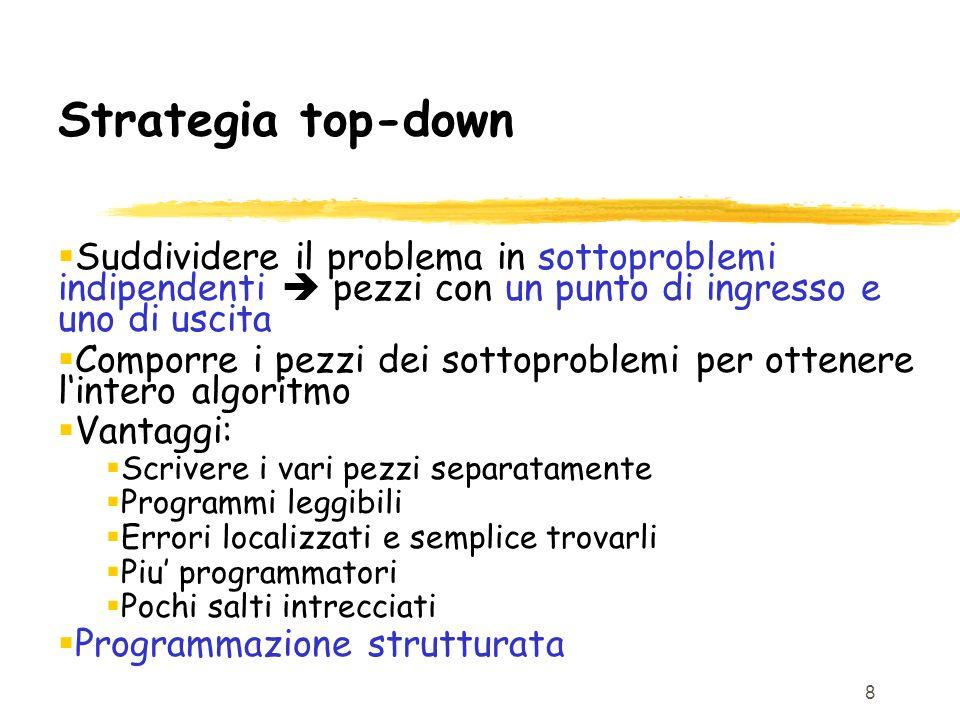 Strategia top-down Suddividere il problema in sottoproblemi indipendenti  pezzi con un punto di ingresso e uno di uscita.