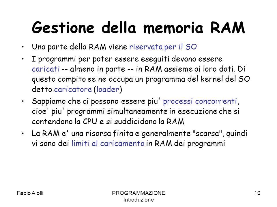 Gestione della memoria RAM