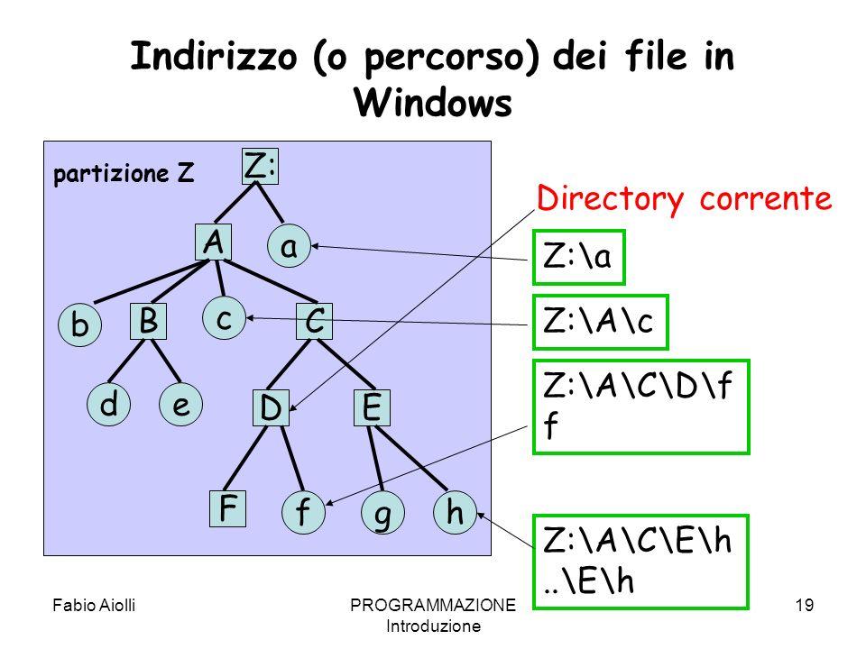 Indirizzo (o percorso) dei file in Windows