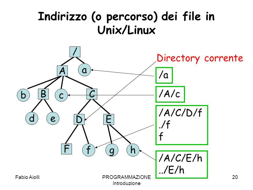 Indirizzo (o percorso) dei file in Unix/Linux