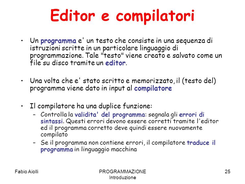 PROGRAMMAZIONE Introduzione