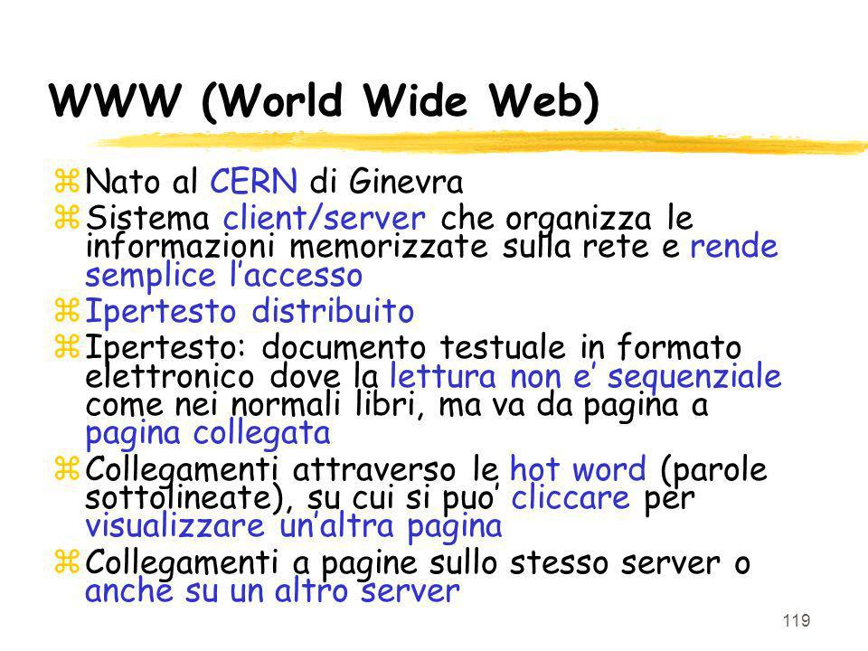 WWW (World Wide Web) Nato al CERN di Ginevra