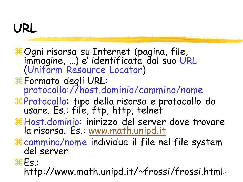 URL Ogni risorsa su Internet (pagina, file, immagine, …) e' identificata dal suo URL (Uniform Resource Locator)