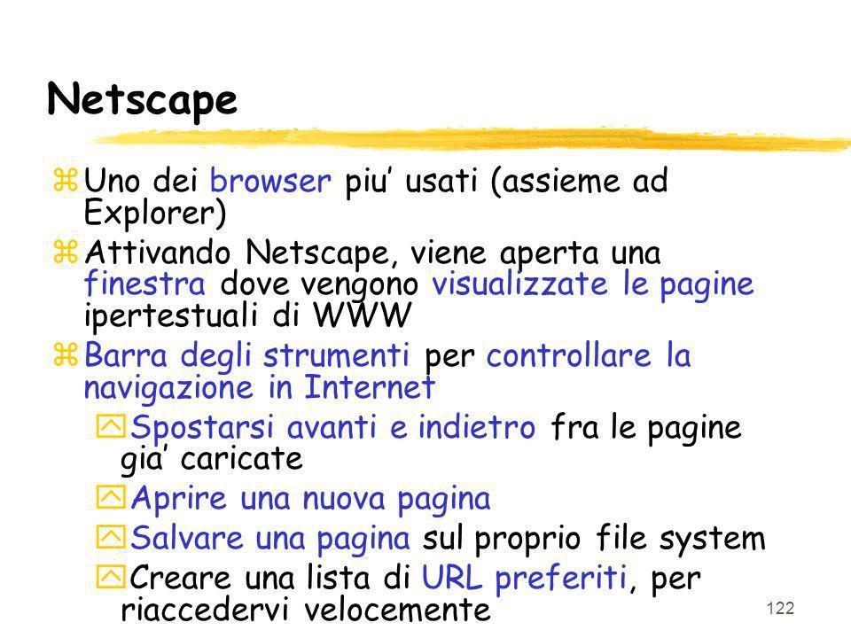 Netscape Uno dei browser piu' usati (assieme ad Explorer)