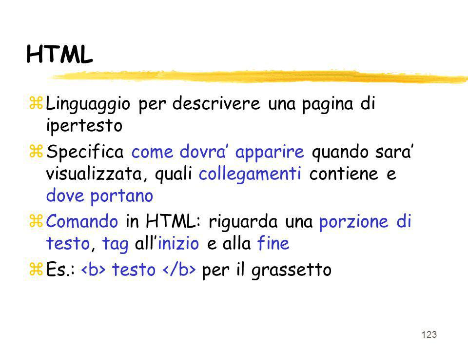 HTML Linguaggio per descrivere una pagina di ipertesto