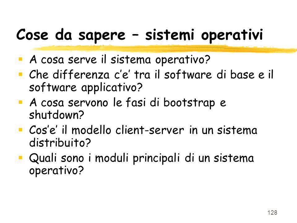 Cose da sapere – sistemi operativi