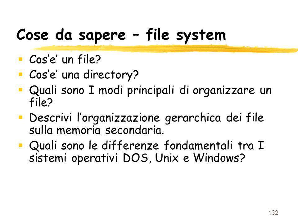 Cose da sapere – file system