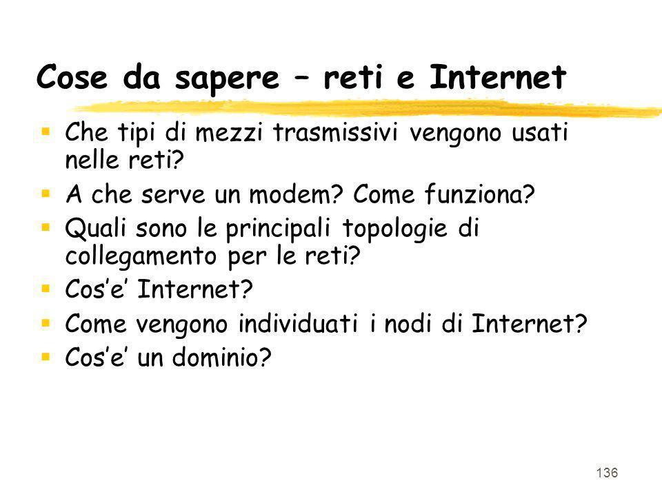 Cose da sapere – reti e Internet